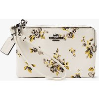 Coach Leather Prairie Print Small Wristlet Purse, Chalk