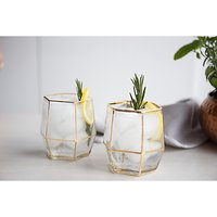 Root 7 Geo Tumbler, 250ml, Clear/Gold, Set of 2