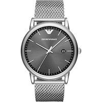 Emporio Armani AR11069 Men's Date Bracelet Strap Watch, Silver/Grey