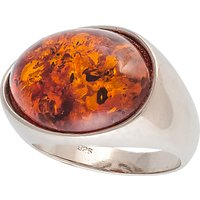 Be-Jewelled Oval Amber Cocktail Ring, Cognac