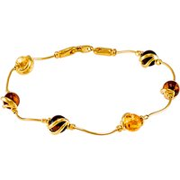 Be-Jewelled Cabochon Amber Snake Chain Bracelet, Multi