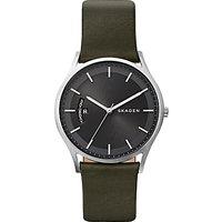 Skagen SKW6394 Womens Leather Strap Watch, Dark Moss Green