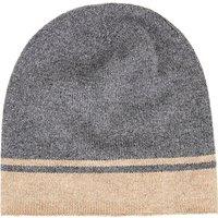 Wyse London Cashmere Stripe Beanie Hat, Grey