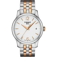 Tissot T0632102203701 Women's Tradition Two Tone Date Bracelet Strap Watch, Silver/Rose Gold
