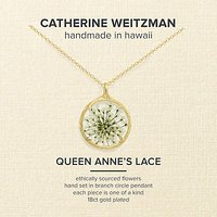 Catherine Weitzman 18ct Gold Plated Small Round Queen Annes Lace Flower Pendant Necklace, Gold/White