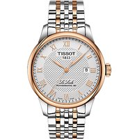 Tissot T0064072203300 Mens Le Locle Automatic Two Tone Date Bracelet Strap Watch, Silver/Rose Gold