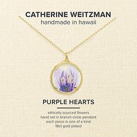 Catherine Weitzman 18ct Gold Plated Small Round Hollyhock Flower Pendant Necklace, Gold/Purple
