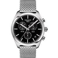 Tissot T1014071104100 Mens PR100 Chronograph Date Bracelet Strap Watch, Silver/Black