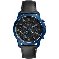 Fossil FS5342 Mens Grant Chronograph Leather Strap Watch, Black