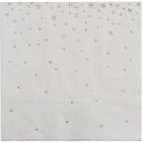 Ginger Ray Silver Star Cocktail Napkins, Pack of 20