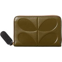 Orla Kiely Textured Embossed Stem Medium Leather Purse, Spruce