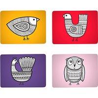 Jane Foster Scandi Linea Bird Placemats, Set of 4, Assorted