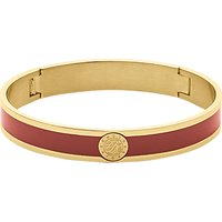 Dyrberg/Kern Enamel Monogram Bangle, Gold/Red
