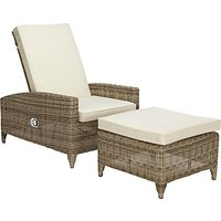 John Lewis & Partners Dante Luxe Outdoor Sun Lounger with Foot Stool, Natural