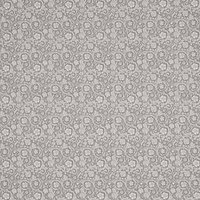 John Louden Floral Swirls Tile Print Fabric, Grey