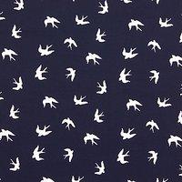 John Louden Swallows Print Fabric, Navy