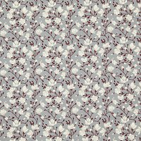 Rose & Hubble Floral Print Fabric, Grey/White