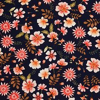 Oddies Textiles Flower Print Fabric, Pink/Navy
