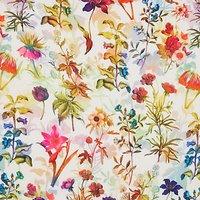 Oddies Textiles Floral Print Fabric, Multi/White