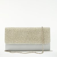 John Lewis Isla East/West Beaded Clutch Bag, Silver