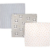John Lewis Baby Panda Muslin Cloths, Pack of 3, Grey