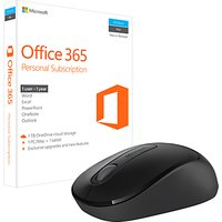 Microsoft Office 365 Personal, 1 PC & 1 Tablet, 1 User, One-Year Subscription, with Microsoft 900 Wireless Mouse Bundle