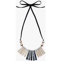 John Lewis Resin Fan Ribbon Necklace, Grey/Rose