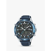 Lorus RW643AX9 Analogue/Digital Chronograph Sports Leather Strap Mens Watch, Blue/Black