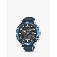 Lorus RW643AX9 Analogue/Digital Chronograph Sports Leather Strap Mens Watch, Blue/Black
