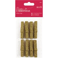 Docrafts Glitter Pegs, Pack of 8, Gold