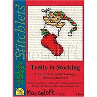 Mouseloft Teddy In Stocking Card Counted Cross Stitch Kit, Multi