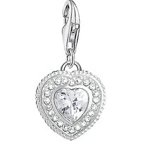 THOMAS SABO Charm Club Cubic Zirconia Antique Heart Charm, Silver