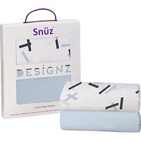 Snuz Baby Geo Print Bedside Crib Fitted Sheet, Pack of 2