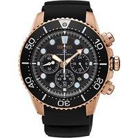 Seiko SSC618P1 Men's Prospex Silicone Strap Divers Watch, Black/Rose Gold