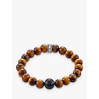 THOMAS SABO Men's Rebel At Heart Beaded Tiger Eye Bracelet, Deep Orange/Black