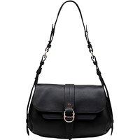 Radley Trinity Square Leather Medium Flapover Shoulder Bag, Black