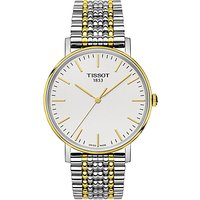 Tissot T1094102203100 Mens Everytime Mesh Bracelet Strap Watch, Silver/Gold