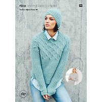 Rico Design Alpaca Dream DK Womens Cable Knit Jumper and Hat Pattern, 627