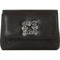 Dune Beston Mini Brooch Clutch Bag, Black Metallic