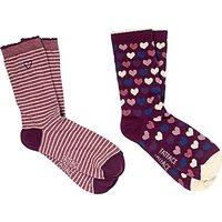 Fat Face Heart Ankle Socks  Pack of 2  Multi