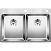 Blanco Andano 340/340IFA 2 Bowl Inset Kitchen Sink, Stainless Steel