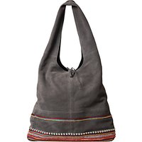 East Leather Patchwork Jute Bag, Greystone