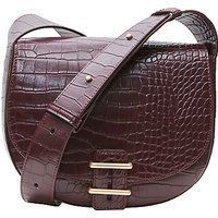 French Connection Contemporary Slide Lock Magda Cross Body Bag, Chocolate Chili Croc