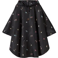 Joules Dog Print Rain Poncho, Black/Multi