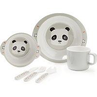 John Lewis & Partners Panda Melamine Dinner Set, 5 Pieces, White