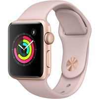 apple watch series 3, gps, 38mm gold aluminium case with sport band, pink sand