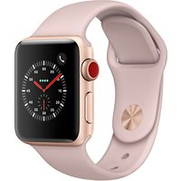 Apple Watch Series 3, GPS and Cellular, 38mm Gold Aluminium Case with Sport Band, Pink Sand