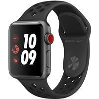 Apple Watch Nike+, GPS and Cellular, 38mm Space Grey Aluminium Case with Nike Sport Band, Anthracite / Black