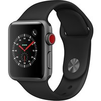 apple watch series 3, gps and cellular, 38mm space grey aluminium case with sport band, black