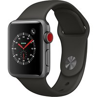 Apple Watch Series 3, GPS and Cellular, 38mm Space Grey Aluminium Case with Sport Band, Grey